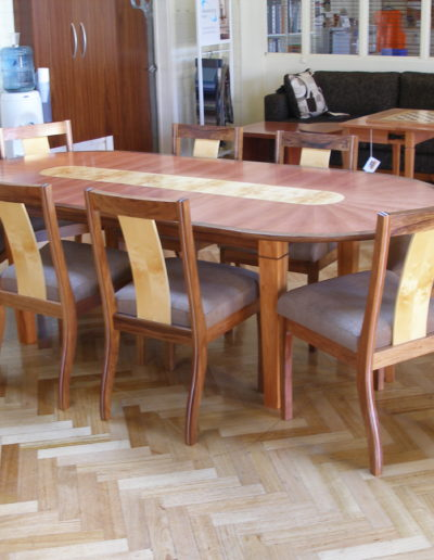 Inlayed table and chairs